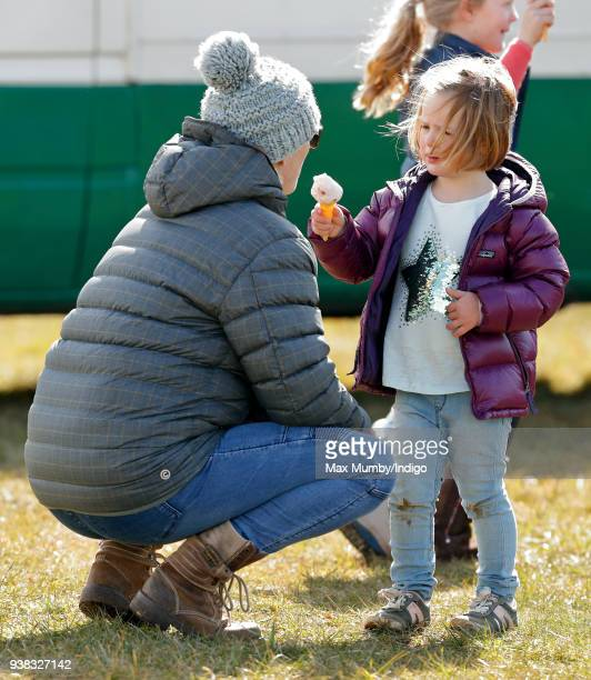 Zara Phillips and Mia Tindall attend the Gatcombe Horse Trials at Gatcombe Park on March 25 2018 in Stroud England