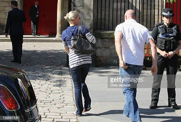 Zara Phillips and Mike Tindall arrive at the Royal wedding rehearsal for at Canongate Kirk on July 29, 2011 in Edinburgh, Scotland. The Queen's...