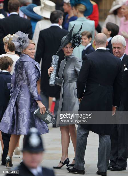 Zara Phillips and Mike Tindall arrive to attend the Royal Wedding of Prince William to Catherine Middleton at Westminster Abbey on April 29 2011 in...