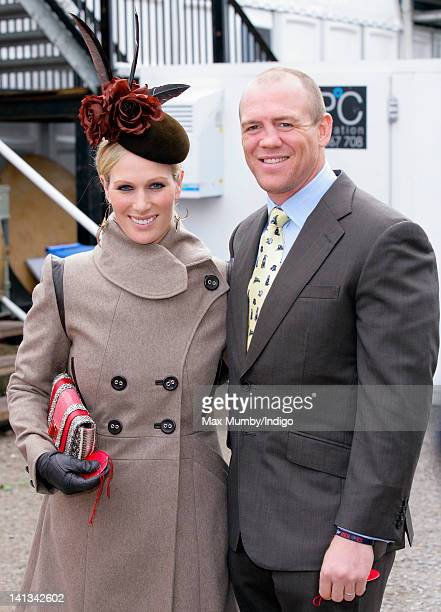 Zara Phillips and Mike Tindall attend day 2 'Ladies Day' of the Cheltenham Horse Racing Festival on March 14 2012 in Cheltenham England