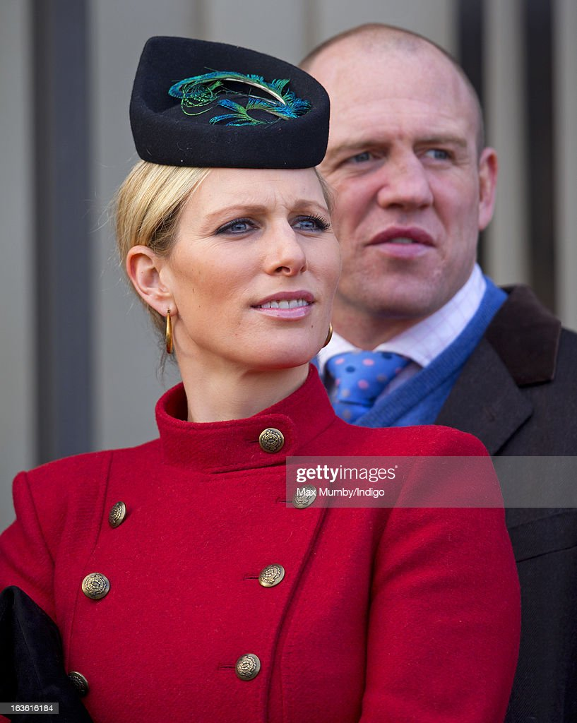Zara Phillips and Mike Tindall attend Day 2 of The Cheltenham Festival at Cheltenham Racecourse on March 13, 2013 in London, England.
