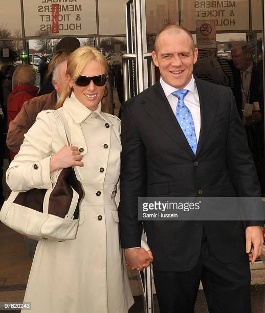 Zara Phillips and Mike Tindall attend day 3 of the Cheltenham Festival on March 18, 2010 in Cheltenham, England.