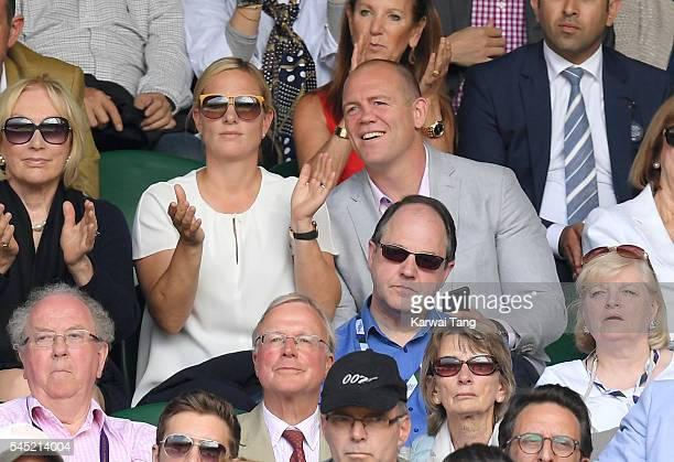 Zara Phillips and Mike Tindall attend day nine of the Wimbledon Tennis Championships at Wimbledon on July 06, 2016 in London, England.