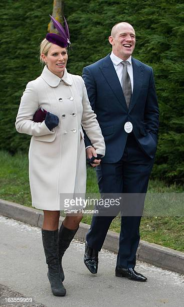 Zara Phillips and Mike Tindall attend the Cheltenham Festival Day 1 at Cheltenham racecourse on March 12 2013 in London England
