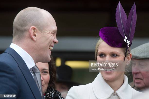 Zara Phillips and Mike Tindall attend the first day of the Cheltenham Festival at Cheltenham Racecourse on March 12 2013 in Cheltenham England