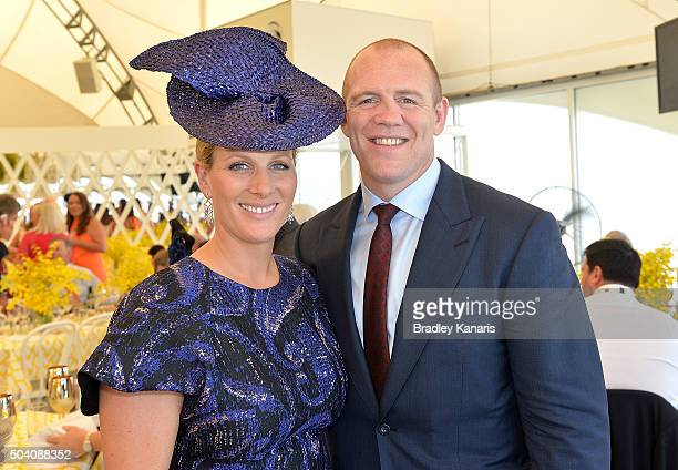 Zara Phillips and Mike Tindall attend the Magic Millions Raceday at Gold Coast Turf Club on January 9 2016 in Gold Coast Australia