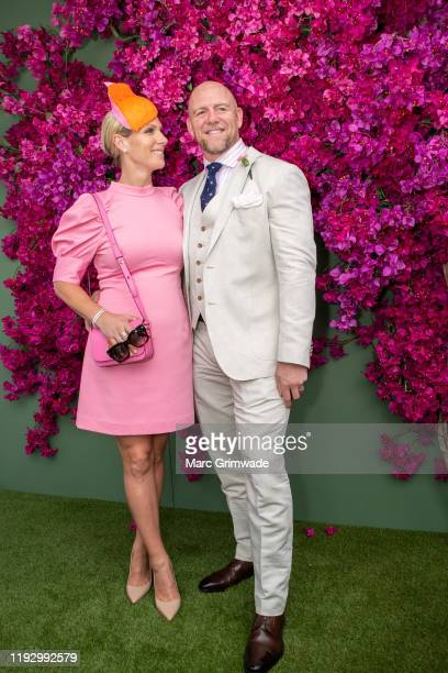Zara Phillips and Mike Tindall attend the Moet Marquee Magic Millions Raceday at the Gold Coast Turf Club on January 11, 2020 in Gold Coast,...
