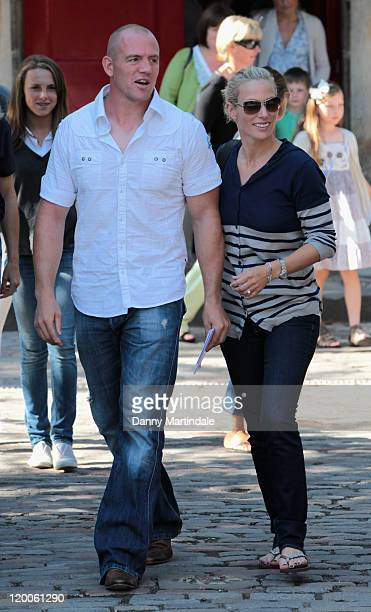 Zara Phillips and Mike Tindall attend the royal wedding rehearsal at the Canongate Kirk, on July 29, 2011 in Edinburgh, Scotland.