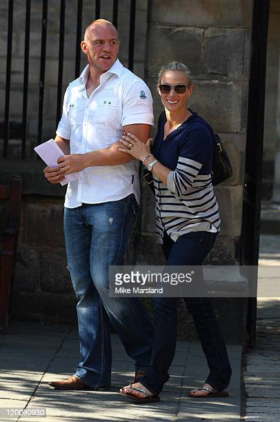 Zara Phillips and Mike Tindall attend their wedding rehearsal at Canongate Kirk on July 29, 2011 in Edinburgh, Scotland.