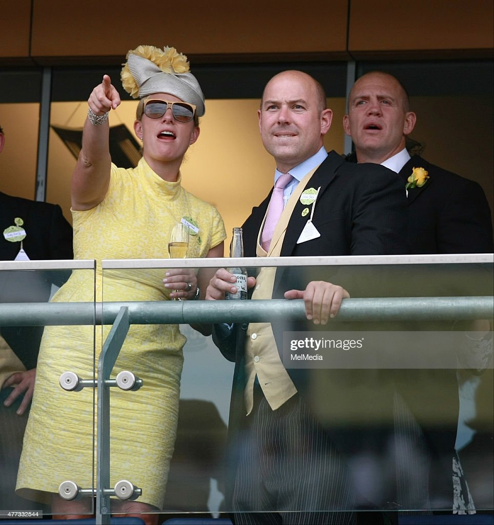 Zara Phillips and Mike Tindall cheer on the horses on day 1of Royal Ascot at Ascot Racecourse, on June 16, 2015 in Ascot, England.