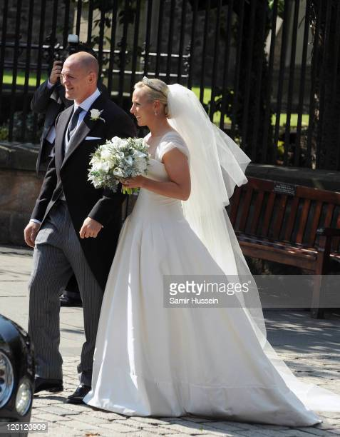 Zara Phillips and Mike Tindall leave the church after their marriage ceremony at Canongate Kirk on July 30 2011 in Edinburgh Scotland