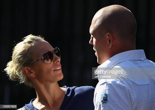 Zara Phillips and Mike Tindall leave their royal wedding rehearsal at Canongate Kirk on July 29, 2011 in Edinburgh, Scotland. The Queen's...