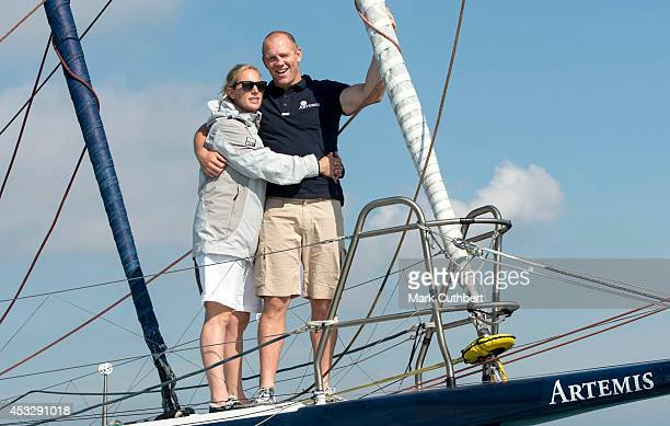 Zara Phillips and Mike Tindall take part in The Artemis Challenge during Cowes week on August 7 2014 in Cowes England