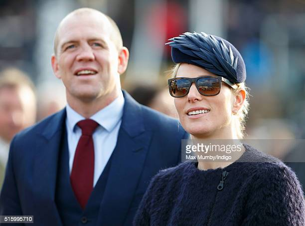 Zara Phillips and Mike Tindall watch the racing as they attend day 2 Ladies Day of the Cheltenham Festival on March 16 2016 in Cheltenham England