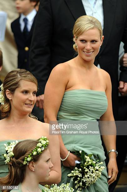 Zara Phillips and other bridesmaids attend the wedding of Peter Phillips to Autumn Kelly at St George's Chapel in Windsor Castle on May 17 2008 in...