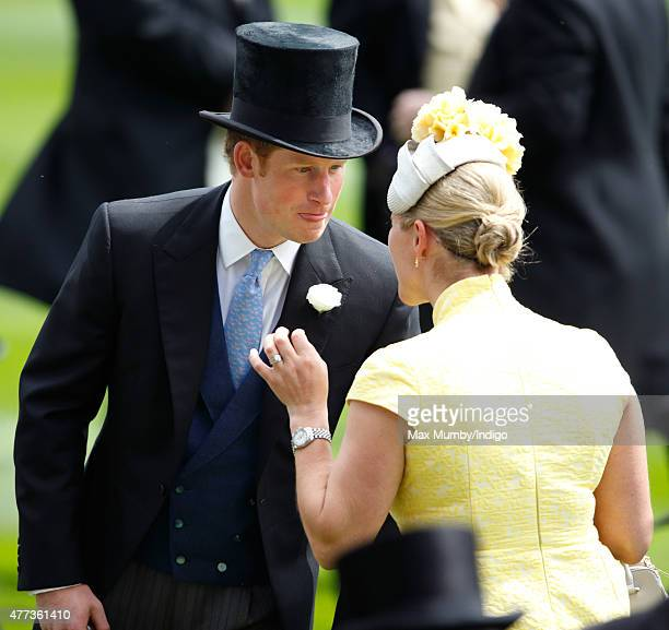 Zara Phillips and Prince Harry attend day 1 of Royal Ascot at Ascot Racecourse on June 16 2015 in Ascot England
