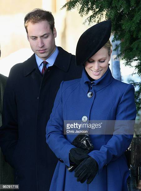 Zara Phillips and Prince William arrive to attend the Christmas Day service at Sandringham Church on December 25, 2009 in King's Lynn, England. The...