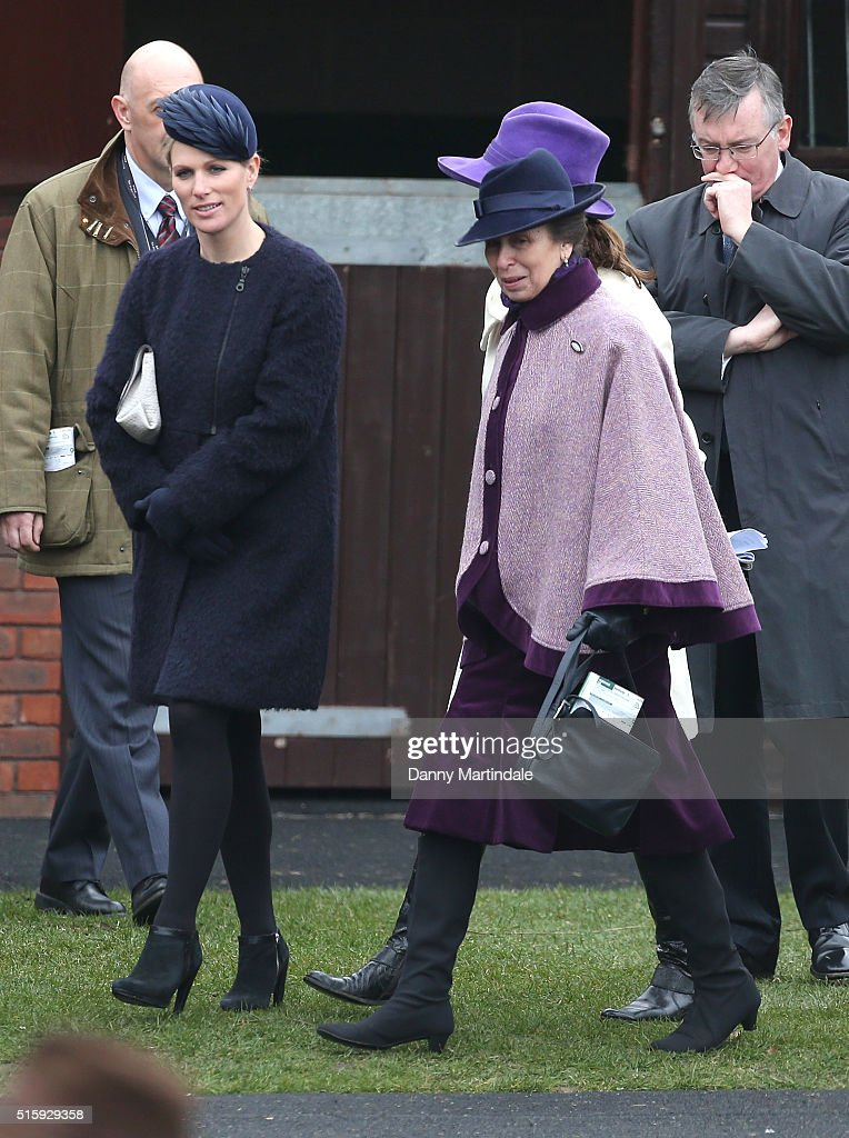 Zara Phillips and Princess Anne attends Ladies Day, the second day of the Cheltenham Festival at Cheltenham Racecourse on March 16, 2016 in Cheltenham, England.
