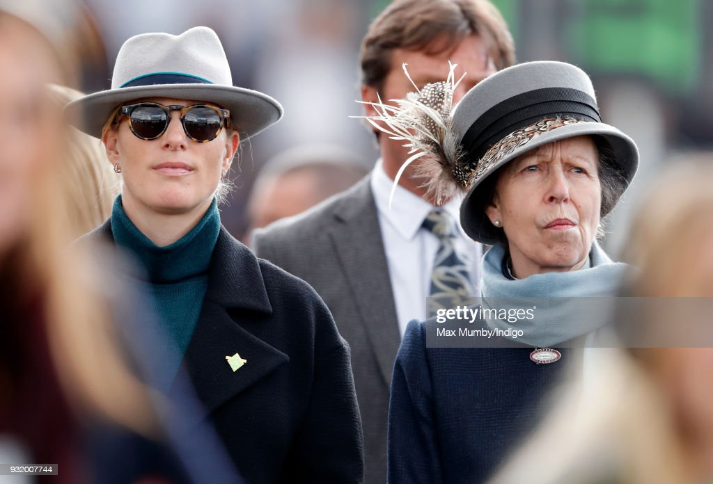 Zara Phillips and Princess Anne, Princess Royal attend day 1 'Champion Day' of the Cheltenham Festival at Cheltenham Racecourse on March 13, 2018 in Cheltenham, England.