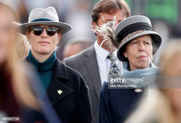 Zara Phillips and Princess Anne Princess Royal attend day 1 'Champion Day' of the Cheltenham Festival at Cheltenham Racecourse on March 13 2018 in...