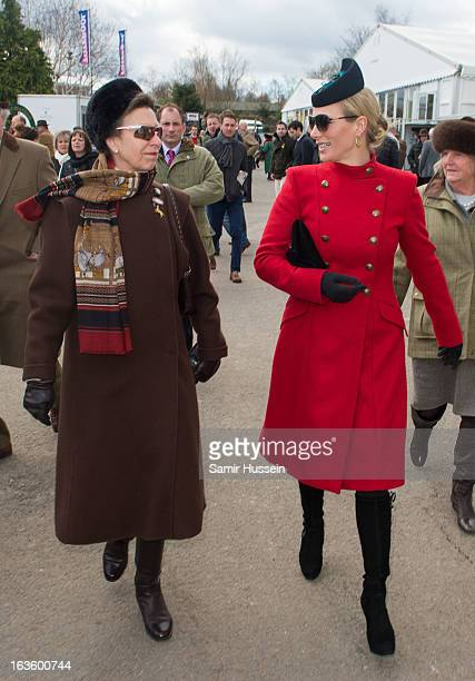 Zara Phillips and Princess Anne, Princess Royal attend the Cheltenham Festival Day 2 on Ladies Day at Cheltenham racecourse on March 13, 2013 in...