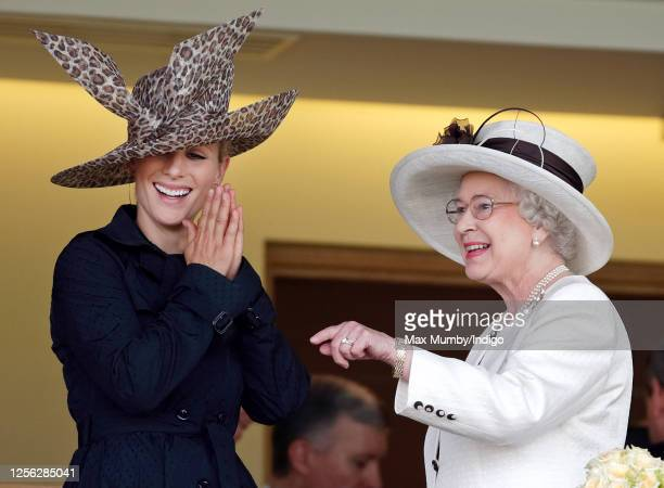Zara Phillips and Queen Elizabeth II watch the racing from the Royal Box as they attend day 3 of Royal Ascot at Ascot Racecourse on June 21, 2007 in...