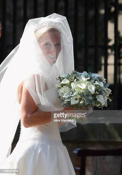 Zara Phillips arrives for the Royal wedding of Zara Phillips and Mike Tindall at Canongate Kirk on July 30 2011 in Edinburgh Scotland The Queen's...