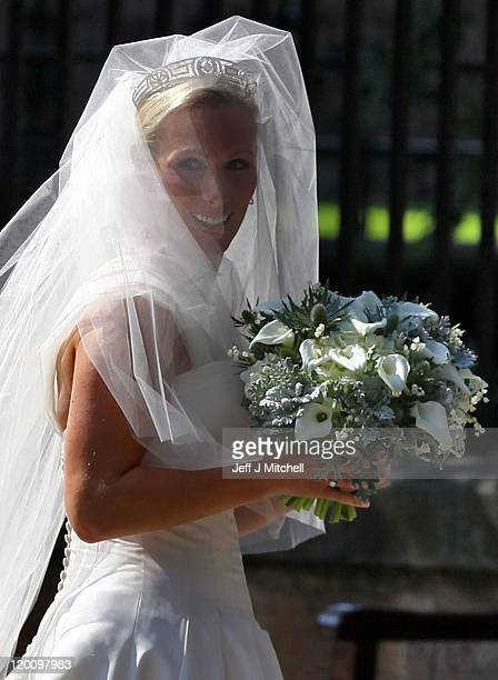 Zara Phillips arrives for the Royal wedding of Zara Phillips and Mike Tindall at Canongate Kirk on July 30, 2011 in Edinburgh, Scotland. The Queen's...