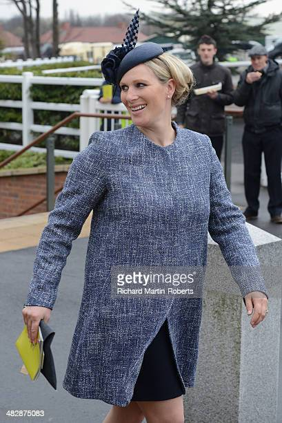 Zara Phillips arrives on Day 3 Grand National day of the Aintree races at Aintree Racecourse on April 5 2014 in Liverpool England