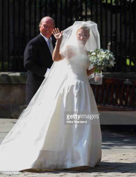 Zara Phillips arrives with her father Captain Mark Phillips for her wedding to Mike Tindall at Canongate Kirk on July 30 2011 in Edinburgh Scotland...