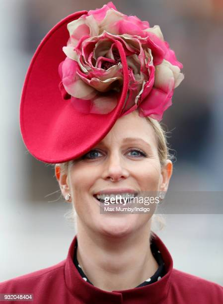 Zara Phillips attends day 2 'Ladies Day' of the Cheltenham Festival at Cheltenham Racecourse on March 14 2018 in Cheltenham England