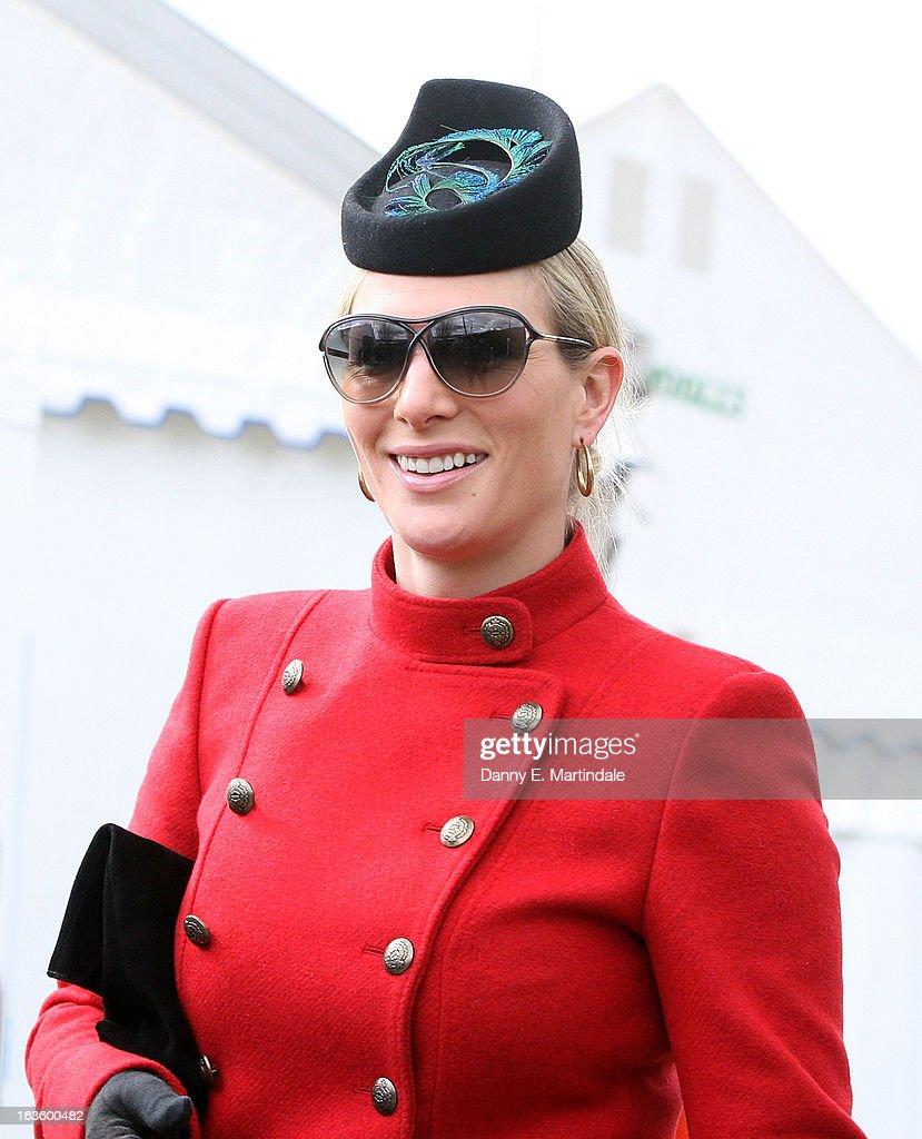 Zara Phillips attends day 2 of the Cheltenham Festival at Cheltenham Racecourse on March 13, 2013 in Cheltenham, England.