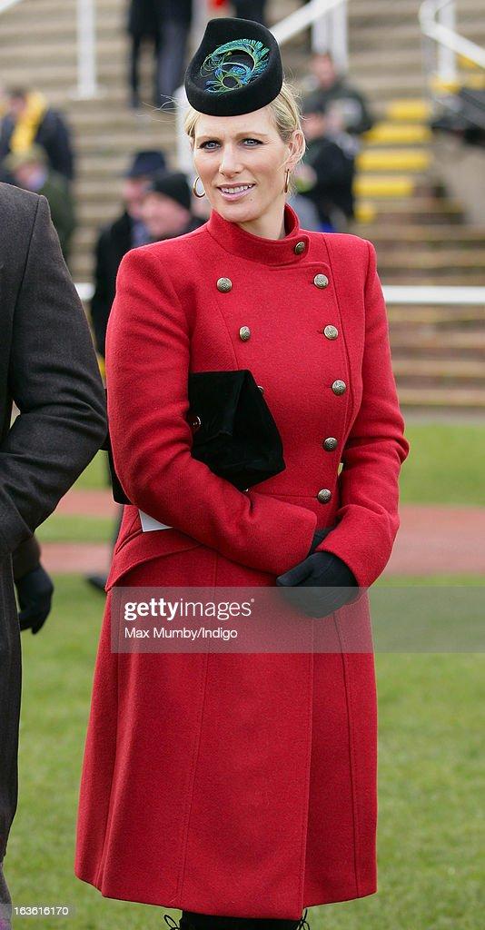Zara Phillips attends Day 2 of The Cheltenham Festival at Cheltenham Racecourse on March 13, 2013 in London, England.