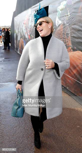 Zara Phillips attends day 3 'St Patrick's Thursday' of the Cheltenham Festival at Cheltenham Racecourse on March 15 2018 in Cheltenham England
