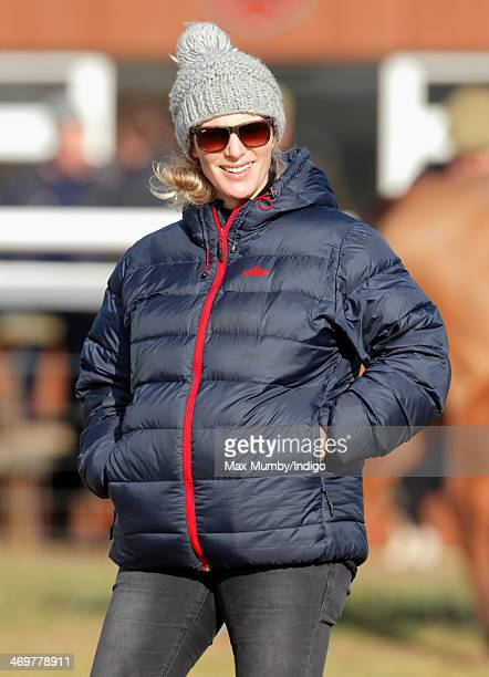Zara Phillips attends the Barbury Castle PointtoPoint race meeting at Barbury Racecourse on February 16 2014 in Marlborough England