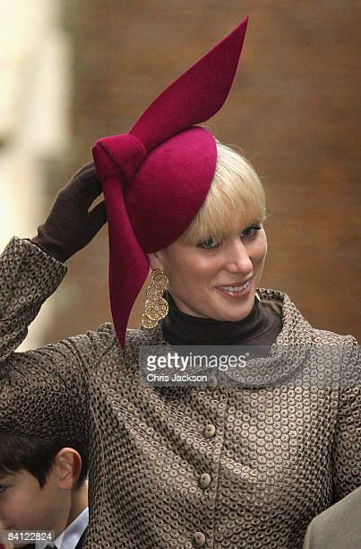 Zara Phillips attends the Christmas Day church service at St Mary's Church on December 25 2008 in Sandringham England
