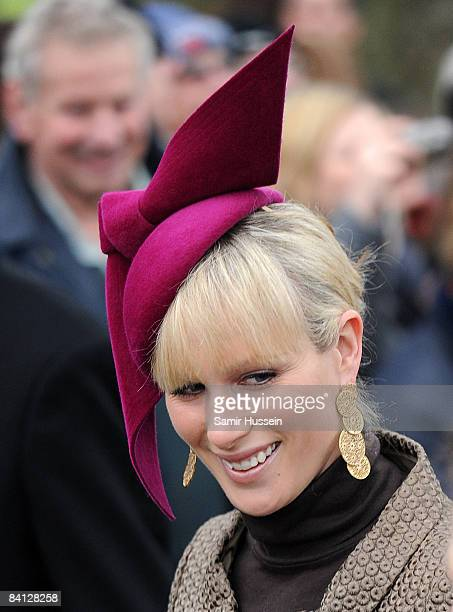 Zara Phillips attends the Christmas day service at St Mary Magdalene Church on December 25 2008 in Sandringham England