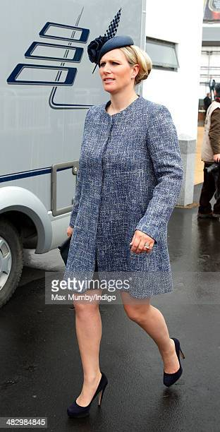 Zara Phillips attends the Crabbie's Grand National horse racing meet at Aintree Racecourse on April 5 2014 in Liverpool England