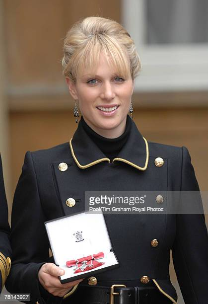 Zara Phillips awarded an MBE for services to Equestrianism at an Investiture at Buckingham Palace on November 28 2007 in London England