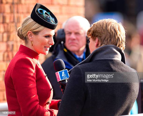 Zara Phillips being interviewed by Clare Balding for Channel 4 Racing as she attends Day 2 of The Cheltenham Festival at Cheltenham Racecourse on...