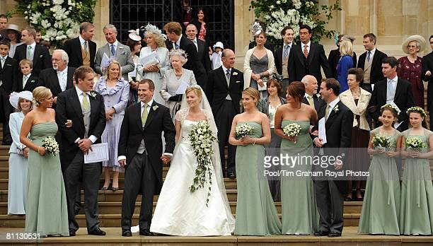 Zara Phillips, Ben Goss, Peter Phillips, Autumn Phillips, Jacqueline Aubie, Susannah Toynbee, Andrew Tucker, Jessica Kelly , Stephanie Phillips pose...