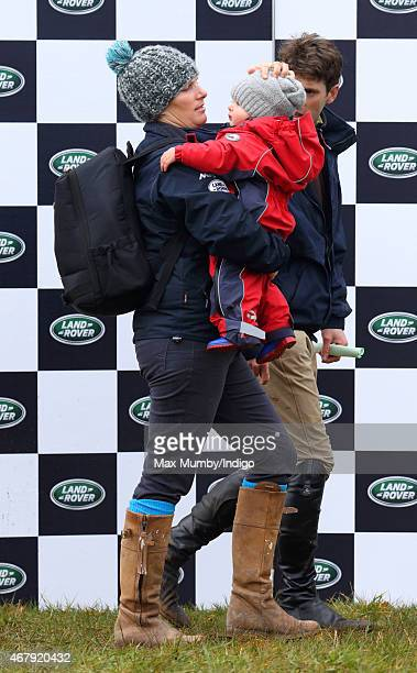 Zara Phillips carries daughter Mia Tindall as she attends the Gatcombe Horse Trials at Gatcombe Park on March 28 2015 in Stroud England
