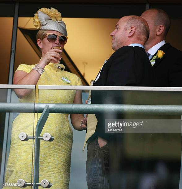 Zara Phillips cheers on the horses on day 1of Royal Ascot at Ascot Racecourse on June 16 2015 in Ascot England