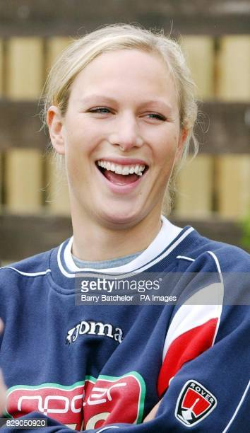 Zara Phillips chews gum before joining exEngland cricketer Phil Tufnell on the 19mile Evesham to Worcester leg of his 500mile walk to raise 250000...