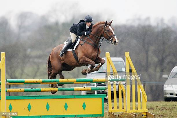 Zara Phillips competes in the Showjumping competition at the British Eventing Gatcombe Horse Trials on March 26, 2006 at Gatcombe Park in...