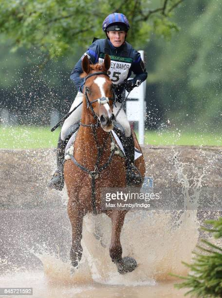 Zara Phillips competes on her horse 'Drops of Brandy' in the cross country phase of the Whatley Manor Horse Trials at Gatcombe Park on September 10...