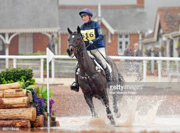 Zara Phillips competes on her horse 'Gladstone' in the cross country phase of the Tweseldown Horse Trials at Tweseldown Racecourse on March 11 2017...