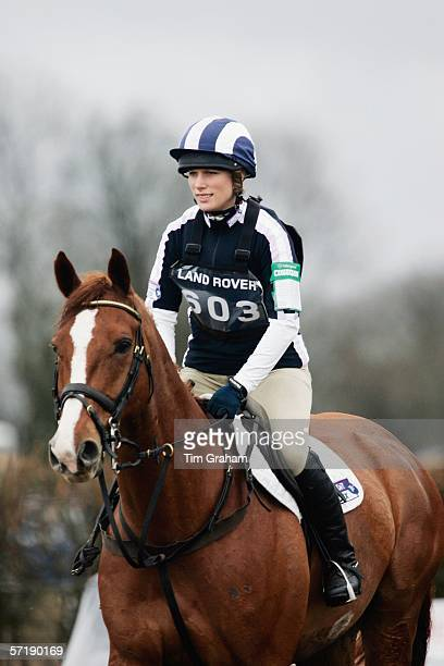 Zara Phillips completes the cross country section of the British Eventing Gatcombe Horse Trials on March 26, 2006 at Gatcombe Park in Minchinhampton,...