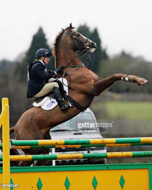 Zara Phillips controls her horse who rears up before competing in Showjumping competition at the British Eventing Gatcombe Horse Trials on March 26,...