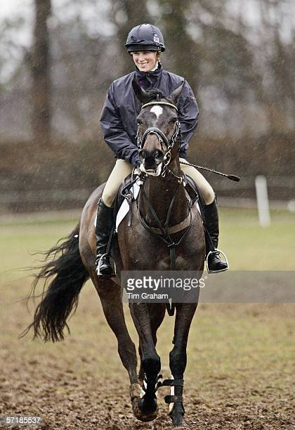 Zara Phillips copes with muddy conditions before competing Tsunami II in the cross-country competition at the British Eventing Gatcombe Horse Trials...
